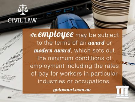 An employee may be subject to the terms of an award or modern award, which sets out the minimum conditions of employment including the rates of pay for workers in particular industries or occupations.