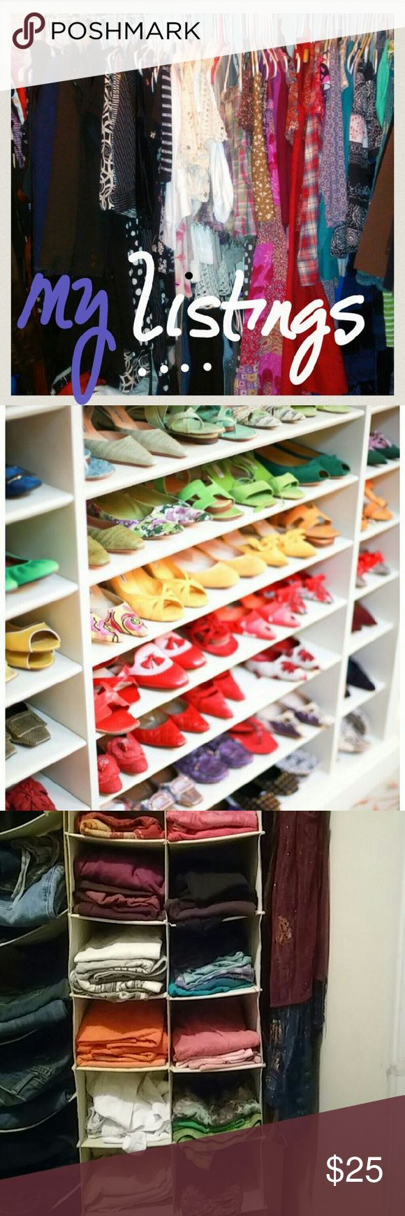 Closet by Color.. I have over 375 listings ..With the exception of newer listings, intimate apparel, bathing suits, accessories and jewelry you'll find my closet set up by color/shade.. Each section starts with a description of 'color psychology', a fun way to explore.. Welcome to my Color Coordinated Closet :) Colourpop Accessories