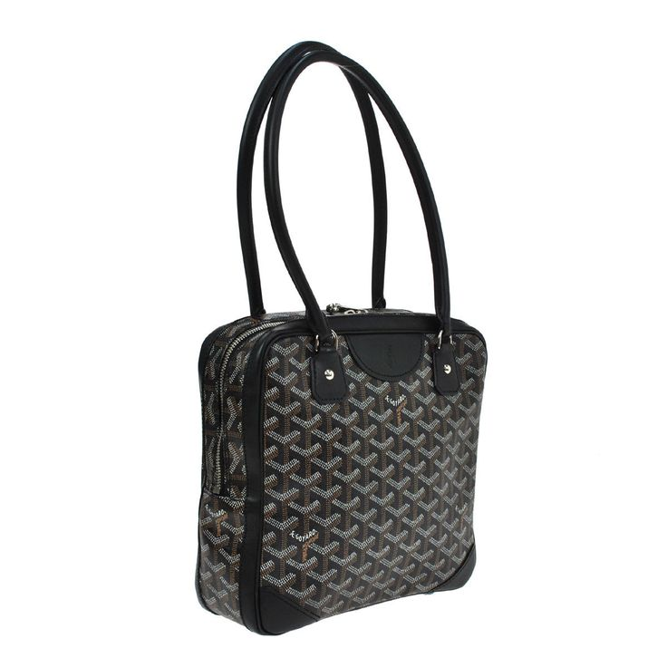 GOYARD. Paris. Vintage Black Logos Hand Bag PVC/Leather ONLINE SPECIAL
