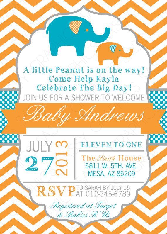 boys baby shower invitation elephant theme by sassygraphicsdesigns www