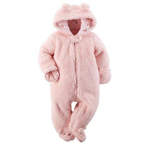 Macacão Carter's pelucia rosa con touca 9 meses cód:127g0729 - 9 meses - Bebê menina