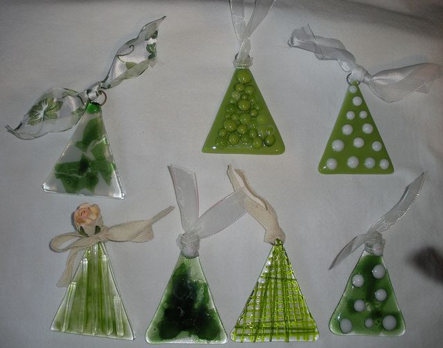 Fused glass Christmas tree ornaments.