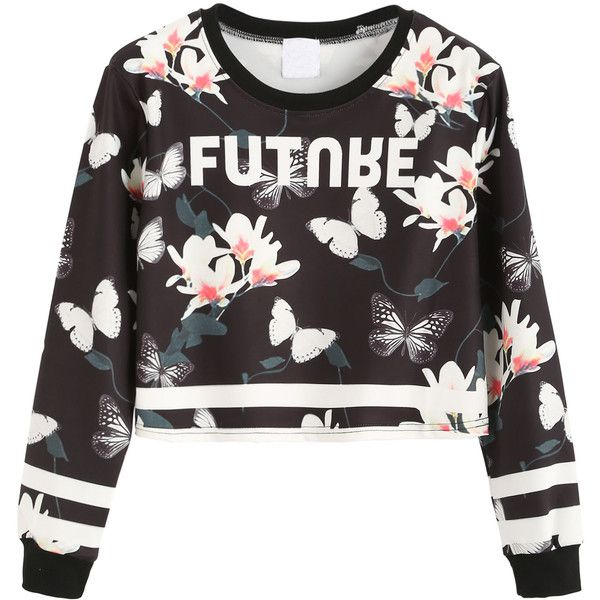Contrast Trim Floral Print Crop Sweatshirt (€18) ❤ liked on Polyvore featuring tops, hoodies, sweatshirts, shirts, sweaters, crop top, white shirt, long sleeve sweatshirts, long sleeve tops and polyester shirt