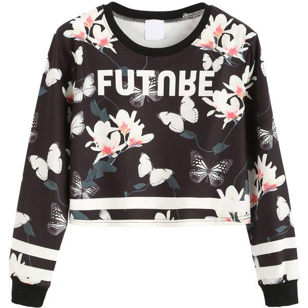 Contrast Trim Floral Print Crop Sweatshirt (145 BOB) ❤ liked on Polyvore featuring tops, hoodies, sweatshirts, sweaters, shirts, crop top, long sleeve shirts, polyester shirt, long sleeve sweatshirts and floral crop tops