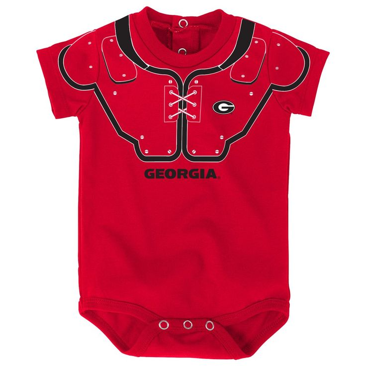 Get your little Bulldogs fan ready for game day with this cute Georgia Blocker Baby Onesie. Designed to look like their wearing football pads like the big boys,