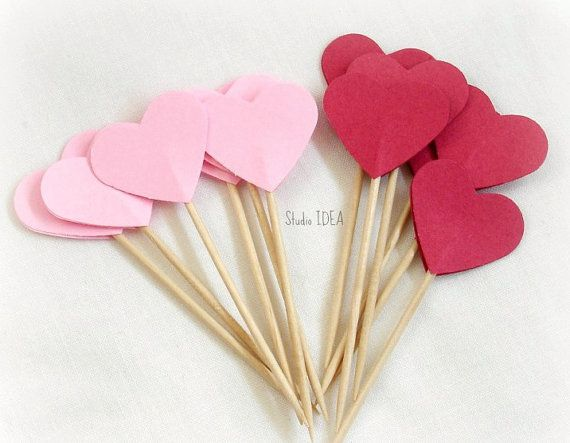24 Pink & Red double-sided Heart 1in Cupcake Toppers by StudioIdea