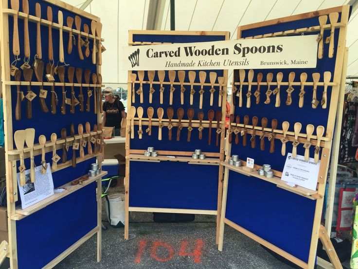 Custom spoon rack display for craft show by carved wooden for Craft fairs near me