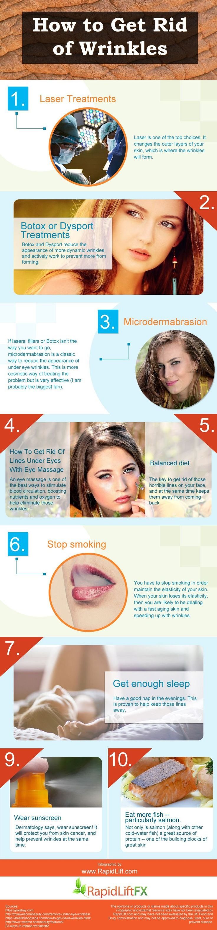 How to get Rid of Wrinkleswrinkle cream, Laser treatments, Botox, Microdermabrasion, massage