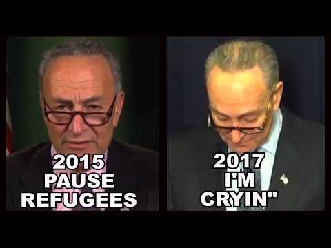 "Schumer 2015: ""Refugee Ban Necessary"" VS. Schumer 2017: ""Trump Is Mean."" CRYING! - YouTube..such rude sickening hypocrisy"