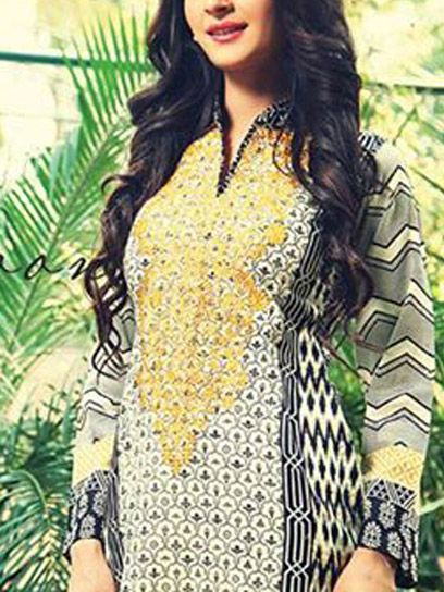 Buy Black Embroidered Cotton Lawn Kurti by RajBari Embroidered Kurti Collection 2015.