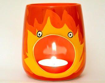 Calcifer Oil Burner - Studio Ghibli - Howls Moving Castle - Boyfriend - Girlfriend - Red Candle Holder - Anime - Tealight from ZenibasAttic on Etsy.
