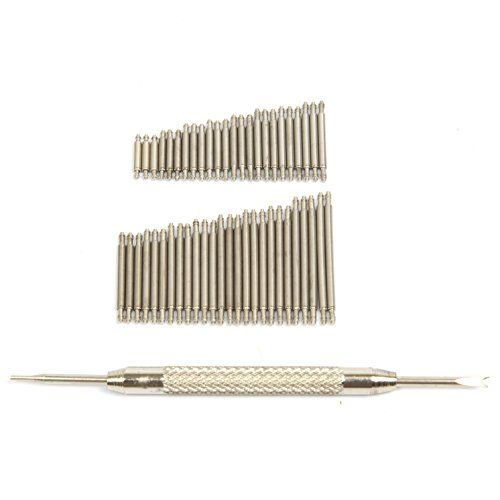 Ginsco 360 Pcs 6-25mm Stainless Steel Watch Band Spring Bars Link Pins with Strap Link Pin Remover Kit  360 pieces 6-25mm spring bar pins with strap link pin reomver.  Thickness : approx. 1.5mm  Material : Stainless Steel  Stainless steel watch pins with double flange, pins applied to metal watch strap links  All packed in a plastic storage case.