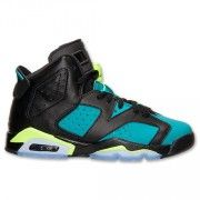 Air Jordan 6 Retro Girl's Black/Volt Ice-Turbo Green-Black Online Price:$109.00  http://www.theblueretros.com/