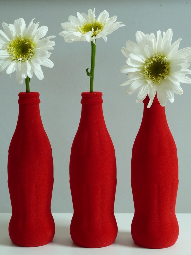 Flocked Coke bottle vase /lnemnyi/lilllyy66/ Find more inspiration here: http://weheartit.com/nemenyilili/collections/22263692-coca-cola