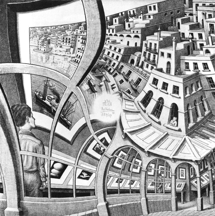 In his prints and drawings from this period, Escher depicted landscapes and natural forms in a fantastic fashion by using multiple, conflicting perspectives. Description from whotalking.com. I searched for this on bing.com/images