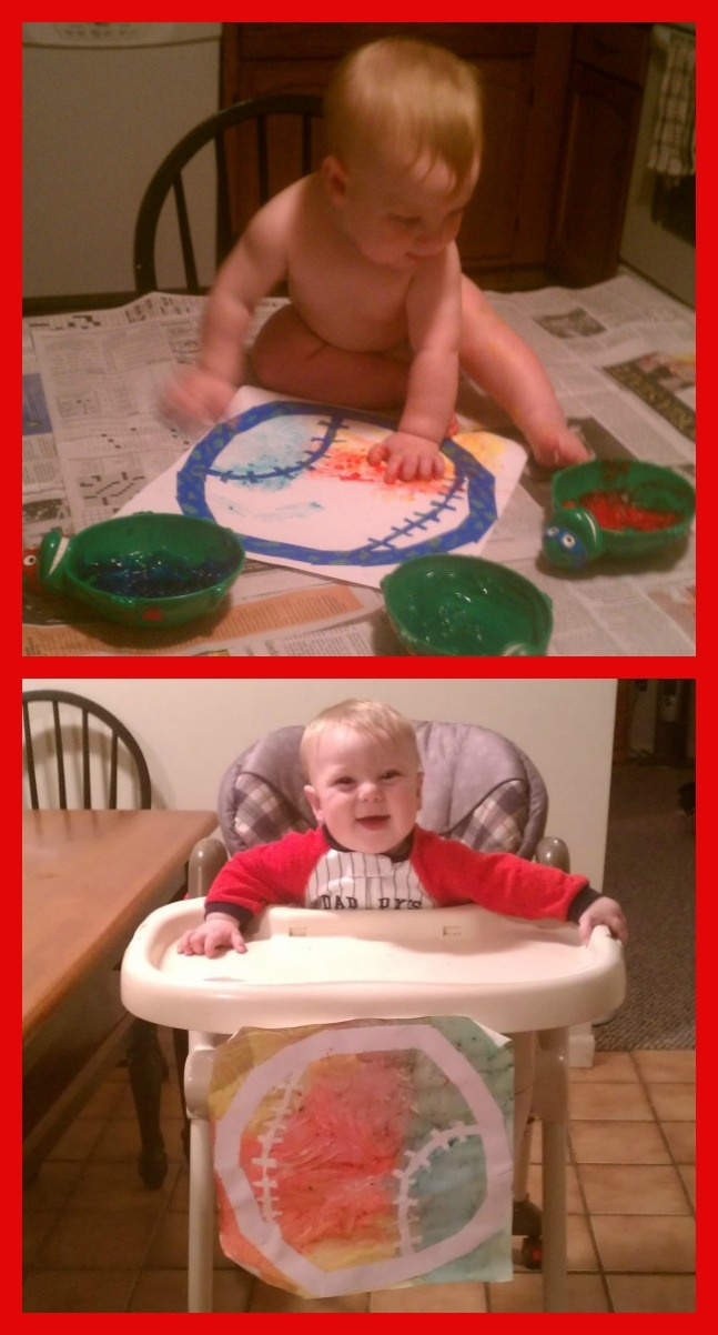 Baby's First Art!  Using homemade edible finger paint, painter's tape, and scrapbook paper baby made his first baseball painting.