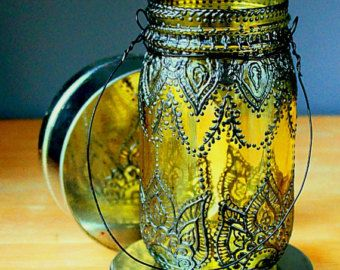 Boho Henna Outdoor Lighting Hand Painted Mason Jar by LITdecor