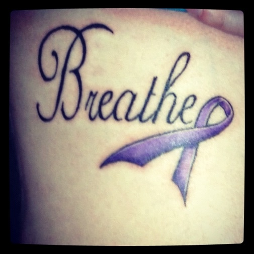 Cystic fibrosis tattoo. I want to incorporate the ribbon into my next tattoo. In memory of my sister, Kathy!