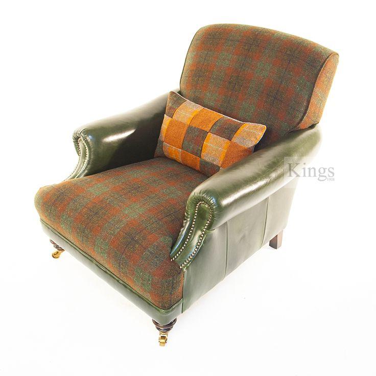The Fabulous Tetrad Taransay Chair in Harris Tweed. Forest Check, Summer Check Patchwork Lumber Cushion and Winter Pine Hide.  www.kingsinteriors.co.uk/brands/tetrad-harris-tweed