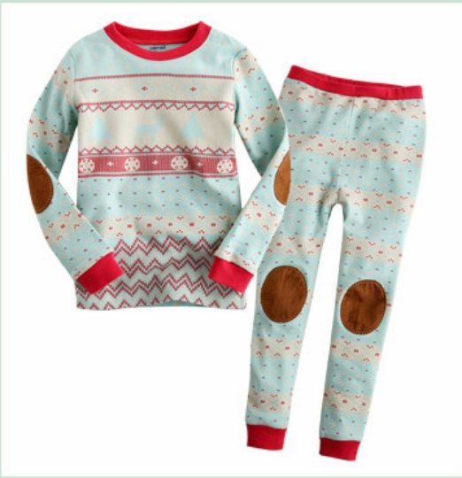 kids Nordic Pattern pajamas - Mint / Christmas PJs / Christmas Pajamas for kids / toddler size 12M-8