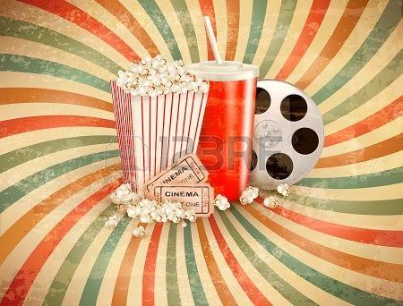 Retro achtergrond met Popcorn en een drankje. Stockfoto - 22718808