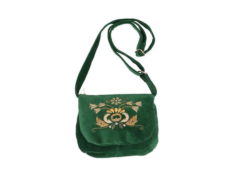 Torebka zamszowa zielona - haft kaszubski - złota nitka