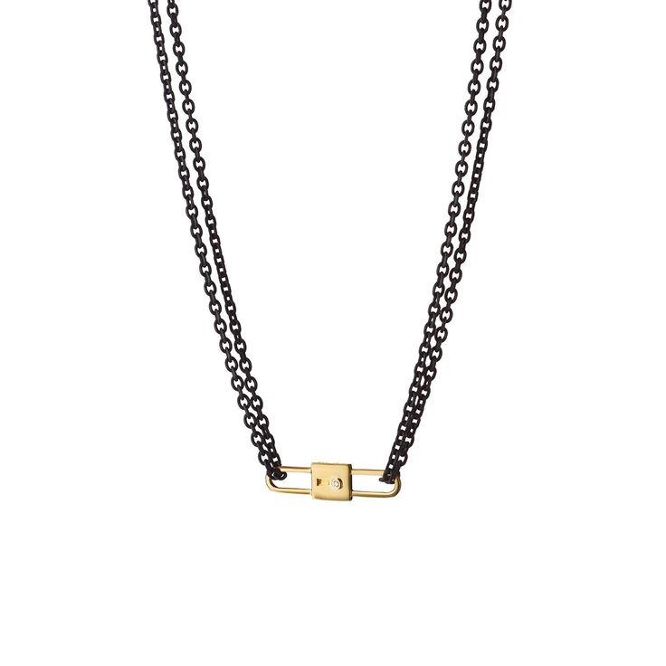 Lock Charm Black Steel Chain Necklace