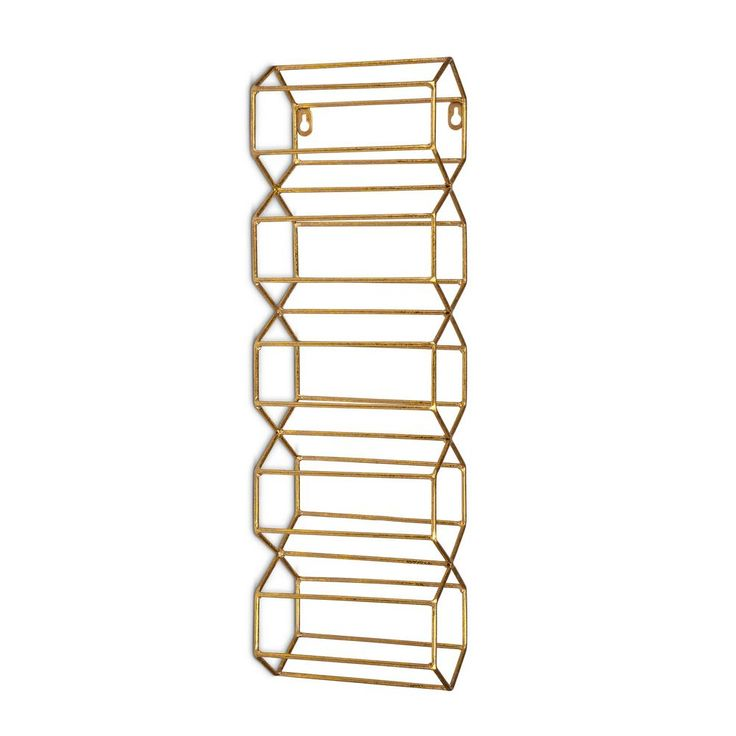 gold metal wine rack