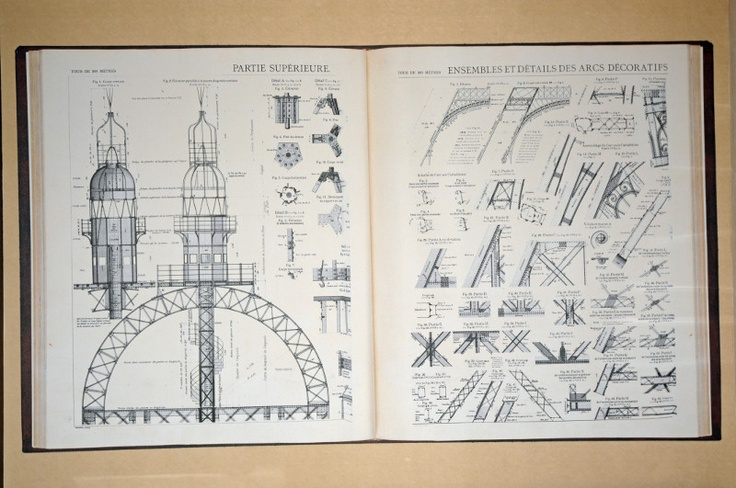 Plans of the Eiffel Tower as seen in Gustave Eiffel's book (picture taken in the corridor of Eiffel Saint Charles Hotel in Paris http://www.hotel-eiffel-saint-charles.com/photos)