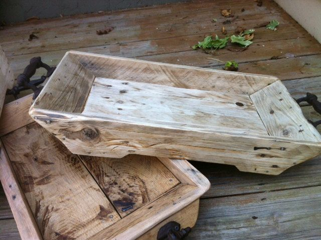 My dad is so cool- he makes these trays! Reclaimed Wood Tray (Standard Size) with Iron Handles. $95.00, via Etsy - Fabulous craftsmanship