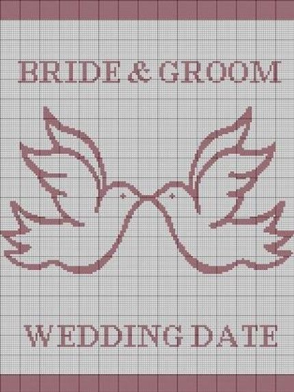 CROCHET PATTERN WEDDING DOVES BRIDE GROOM AFGHAN CROSS STITCH KNITTING GRAPH ...