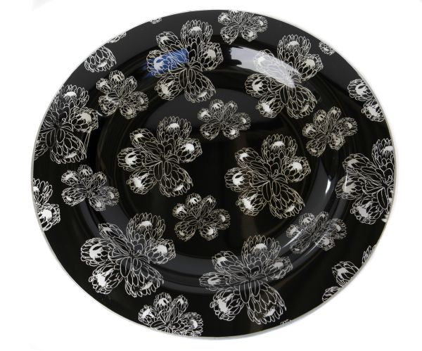 Black Glass Protea Salad Dish. Now in stock at Essential Life! #protea #black #glass #platter