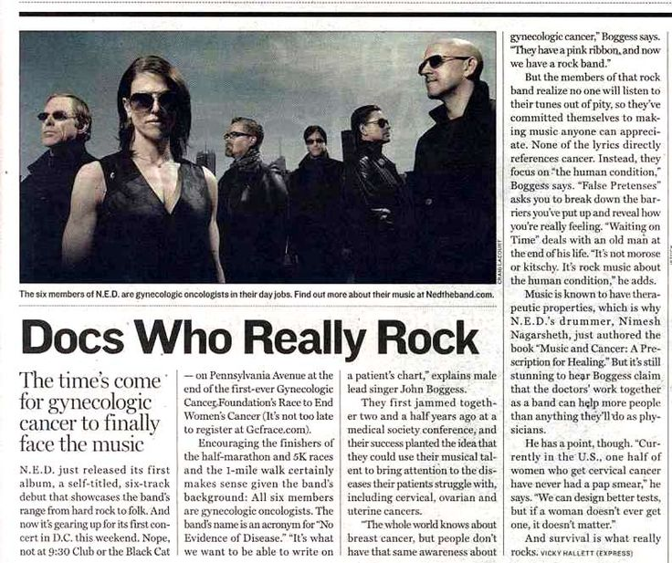 This article in the Washington Post Express from November 2009 first brought our attention to the band No Evidence of Disease... and here we are today, with a documentary film about the band and a GYN cancer advocacy campaign going strong! #ThrowbackThursday #TBT