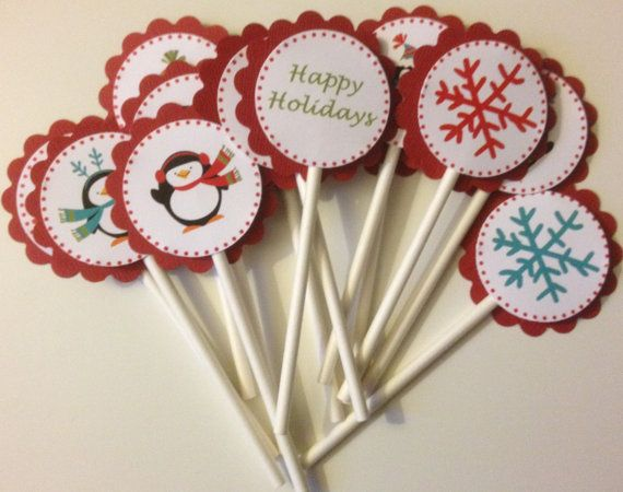 Cupcake Toppers--Happy Holidays--Merry Christmas