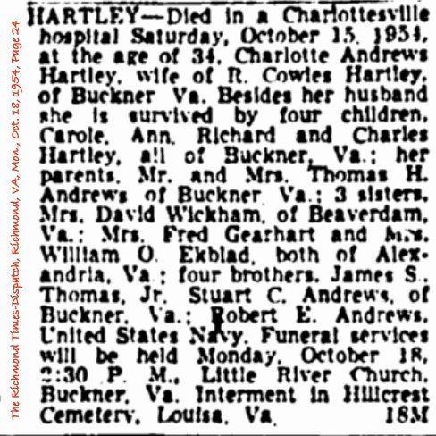 Hartley, Charlotte Pauline Andrews Obituary: