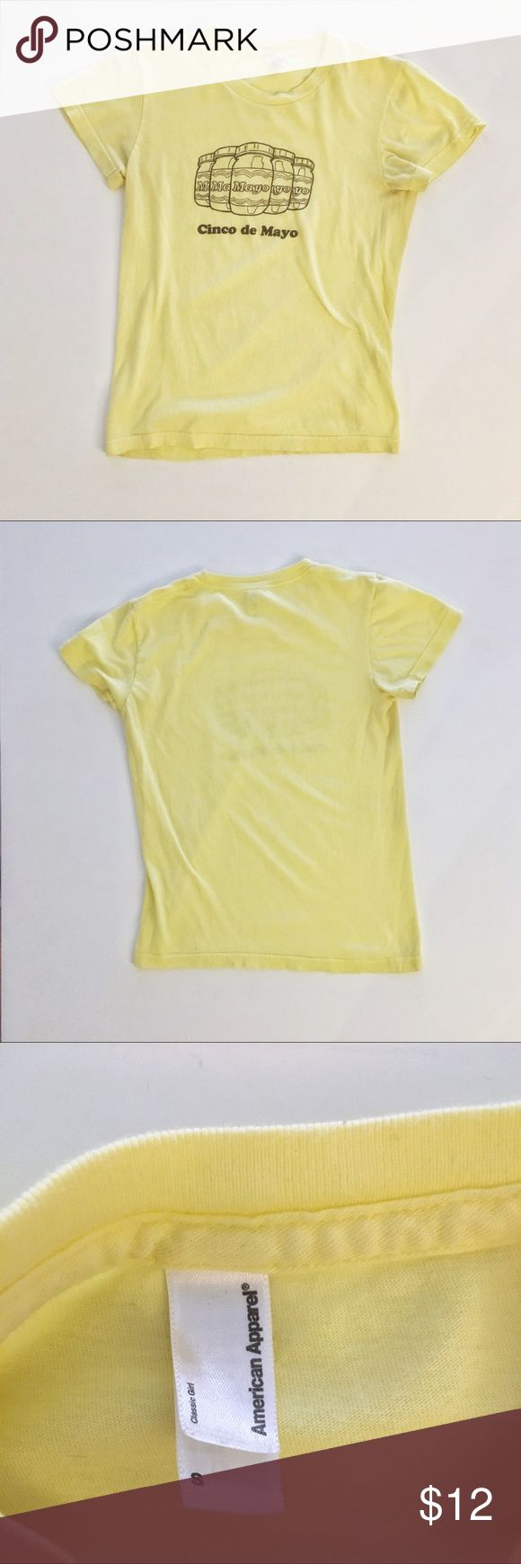 "American Apparel ""Cinco de Mayo"" T-Shirt - Size S American Apparel Women's Yellow ""Cinco de Mayo"" T-Shirt - Size S - in excellent condition American Apparel Tops Tees - Short Sleeve"
