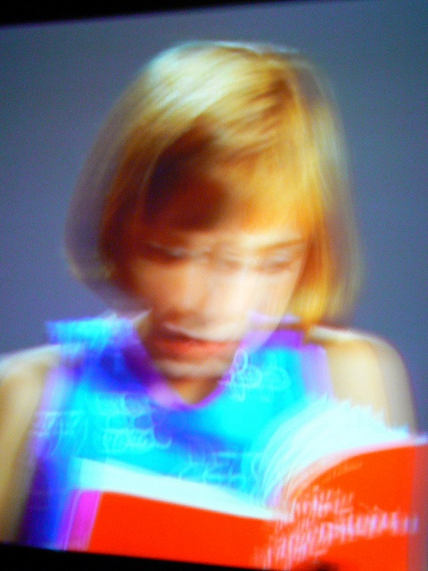 "Gary Hill, installation, 1994. Gary Hill's daughter Anastasia reading a series of excerpts from the philosopher Ludwig Wittgenstein's ""Remarks on Colour""."