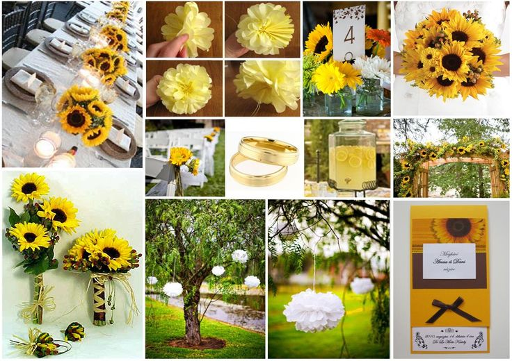 Inspiration board with pompoms and sunflowers