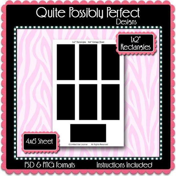 1x2 Inch Rectangle Template Instant Download Psd And Png Formats
