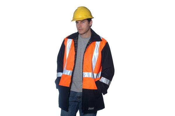 Huski Hi Visibility Wool Blend Jacket Coat Workwear 3M Tape Orange Black New