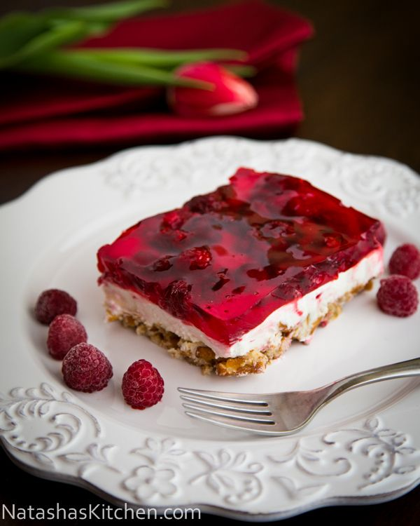 Raspberry Pretzel Jello - AWESOME! Pretzel layer does not get soggy. Can make the day before - or eat left overs (if there is anything left!)