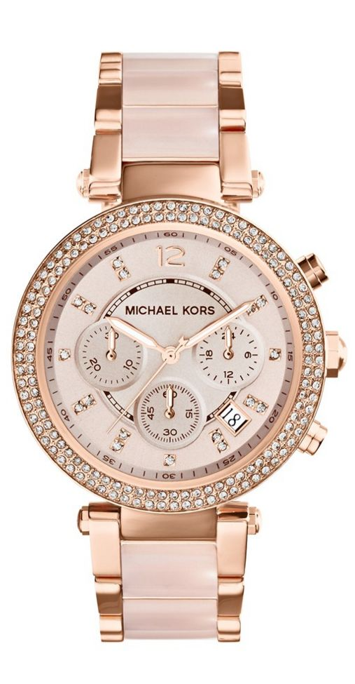 Michael Kors 'Parker' Blush Acetate Link Chronograph Watch, 39mm