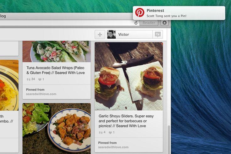 Recibir notificaciones de Pinterest en Safari.