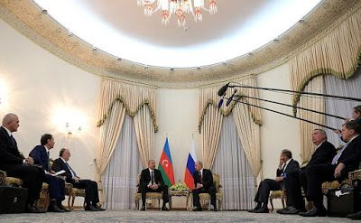 Vladimir Putin at a meeting with President of Azerbaijan Ilham Aliyev.