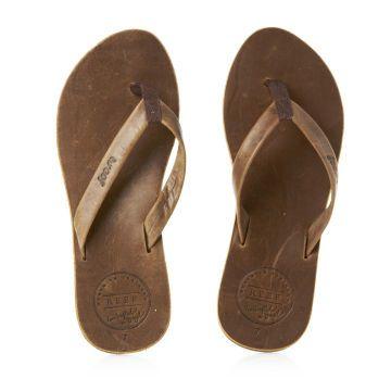 Reef Flip Flops - Reef Girls Skinny Leather Flip Flops - Brown