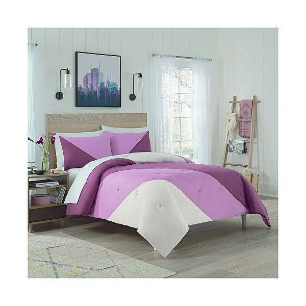 Colorblock Mauve Beau Comforter Set ($88) ❤ liked on Polyvore featuring home, bed & bath, bedding, comforters, pink, king comforter, pink king size comforter, king size pillow shams, queen comforter and king size comforters