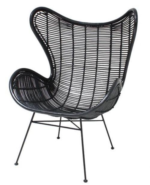HK-living | HK-living Stoel zwart rotan Egg chair 100x63x63cm | www.designstart.nl