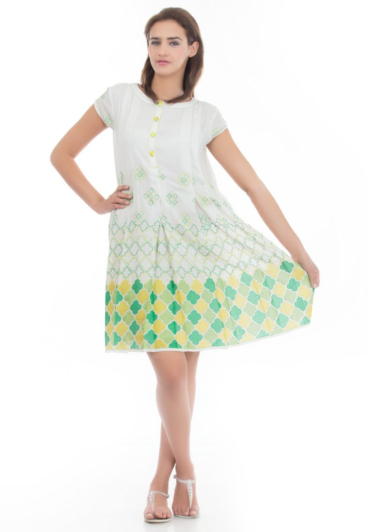 Embroided Cotton Summer Dress -> - Crushed Cotton - off White Color - Cotton Lining - Trapez Dress - Front Button Opening - Patch work Embroidery - Stitched Pleates upto Waist - Dry Clean  Order Now : http://www.rinkusobti.com/clothing/embroided-cotton-summer-dress