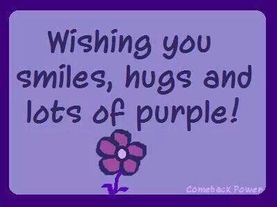 Smiles, hugs, and lots of purple.