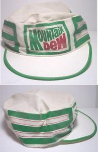 Vintage-70s-Advertising-Promo-Mountain-Dew-Pill-Box-Baseball-Hat-Plastic-Visor